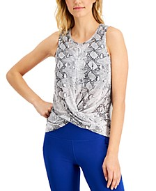 Snake-Print Twist-Front Tank Top, Created for Macy's