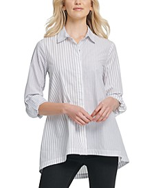 Cotton Striped High-low Button Down Top