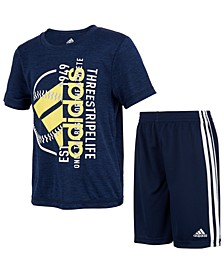 Toddler Boys Melange Tee and Short Set