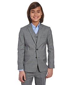 Big Boys Stretch Gray Windowpane Sharkskin Suit Jacket