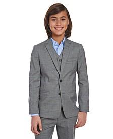 Big Boys Stretch Gray Windowpane Sharkskin Suit Jacket