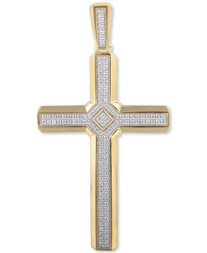Macy's - Men's Diamond Cross Pendant (1/2 ct. t.w.) in 10k Gold