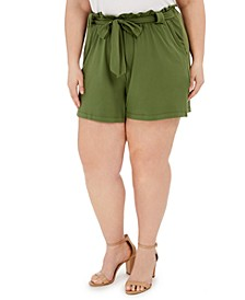 Trendy Plus Size Paperbag-Waist Shorts