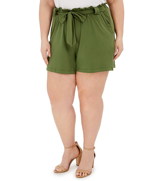 FULL CIRCLE TRENDS Trendy Plus Size Paperbag-Waist Shorts