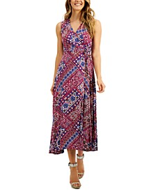 Mosaic-Print Faux-Wrap A-Line Maxi Dress