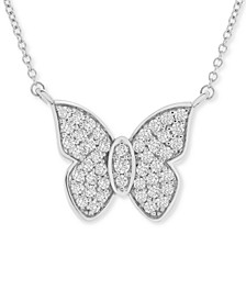"Diamond Butterfly 20"" Pendant Necklace (1/2 ct. t.w.) in 14k White Gold, Created for Macy's"