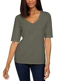 Petite Cotton Button-Trim Top, Created for Macy's