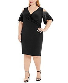 Plus Size Embellished Cold-Shoulder Sheath Dress