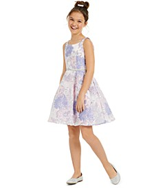 Big Girls Burnout Organza Fit & Flare Dress