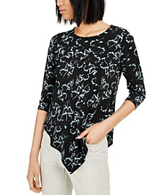Petite Printed V-Hem Top, Created for Macy's