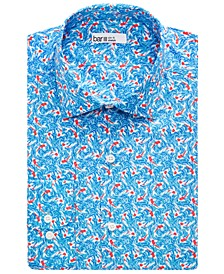 Men's Slim-Fit Stretch Koi Fish Print Dress Shirt, Created for Macy's