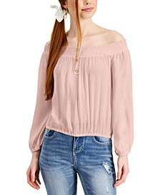 Juniors' Off-The-Shoulder Top with Scrunchie