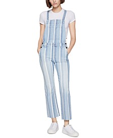 Indigo Striped Denim Overalls