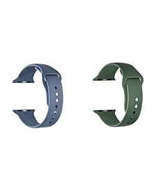 Men and Women Blue Green 2-Pack Silicone Replacement Band for Apple Watch, 38mm
