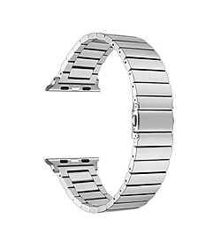 Men and Women Silver-Tone Stainless Steel Replacement Band for Apple Watch with Removable Links, 42mm