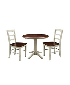 "36"" Round Extension Dining Table with 2 Madrid Chairs"