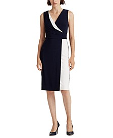 Petite Two-Tone Surplice Dress