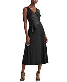 Satin-Jersey Surplice Dress