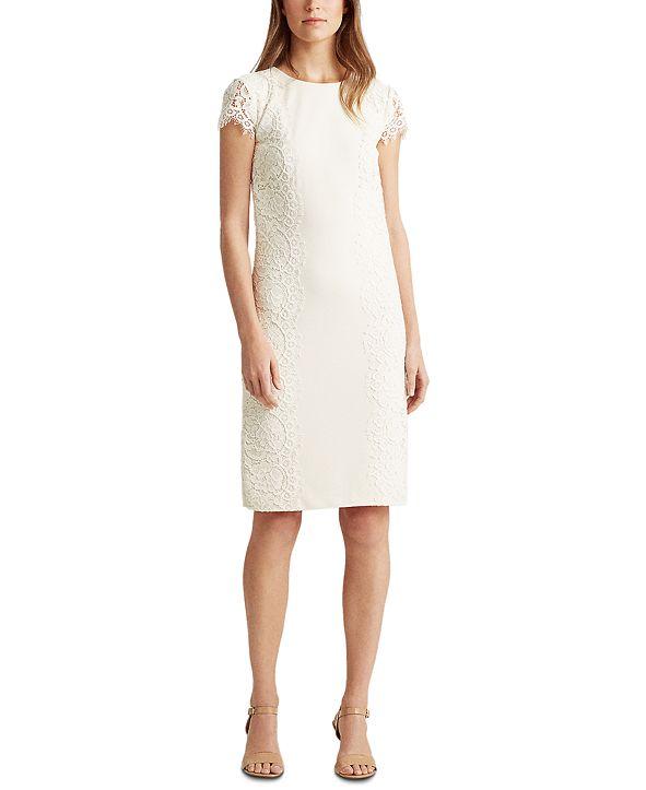 Lauren Ralph Lauren Petite Jersey-Lace Cocktail Dress