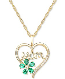 "Lab-Created Emerald (5/8 ct. t.w.) & Lab-Created White Sapphire (1/10 ct. t.w.) Mom 18"" Pendant Necklace in 10k Gold"