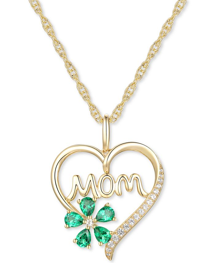 """Macy's - Lab-Created Emerald (5/8 ct. t.w.) & Lab-Created White Sapphire (1/10 ct. t.w.) Mom 18"""" Pendant Necklace in 10k Gold"""