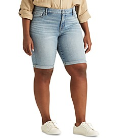 Plus-Size Stretch Cotton-Blend Shorts