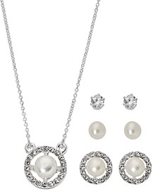"Fine Silver Plate Cubic Zirconia Circle Necklace and Stud Earring Set, 18"" + 3"" extender"