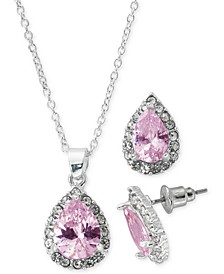 """Fine Silver Plate Cubic Zirconia Teardrop Necklace and Stud Earring Set, 18"""" + 3"""" extender"""