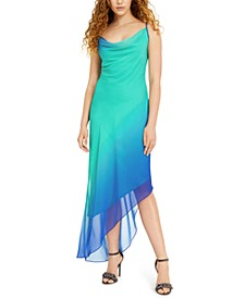 Juniors' Ombré Chiffon Cowlneck Slip Dress