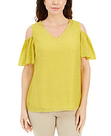 JM Collection Studded Cold-Shoulder Woven Gauze Top, Created for Macy's