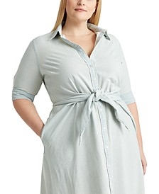 Plus-Size Chambray Shirtdress