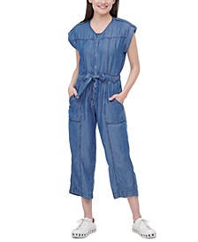 Bow-Trim Snap-Front Jumpsuit