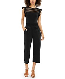 Mesh Cropped Flutter-Sleeve Jumpsuit, Regular & Petite Sizes