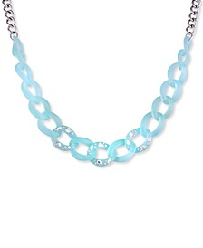 """Silver-Tone Crystal-Frosted Link Collar Necklace, 16"""" + 2"""" extender"""