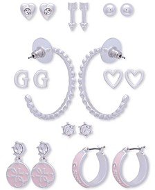 Silver-Tone 9-Pc. Set Crystal Mixed Earrings