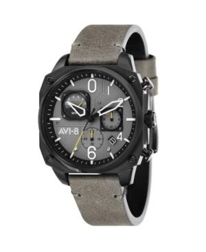 Men's Hawker Hunter Chronograph Retrograde Edition Gray Genuine Leather Strap Watch 45mm
