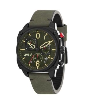 Men's Hawker Hunter Chronograph Retrograde Edition Black Genuine Leather Strap Watch 45mm