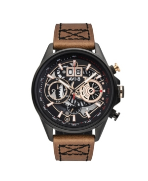 Men's Hawker Harrier Ii Retrograde Chronograph Matador Edition Dark Brown Genuine Leather Strap Watch 45mm