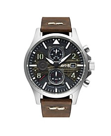 Men's Hawker Hurricane Chronograph Bulman Edition Brown Genuine Leather Strap Watch 45mm