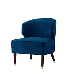 Cybele Velvet Channel Back Accent Chair with Nailhead Trim