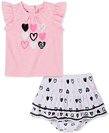 Baby Girls Flutter T-Shirt and Diaper Cover Set