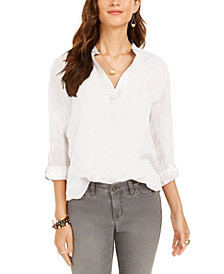 Style & Co Plus Size Cotton Popover Top, Created for Macy's