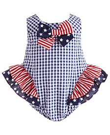 Baby Girls Stars & Stripes Seersucker Bubble Romper