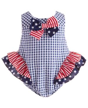 Bonnie Baby Baby Girls Stars & Stripes Seersucker Bubble Romper