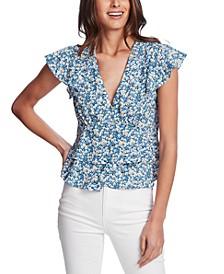 Flutter-Sleeve Floral-Print Top