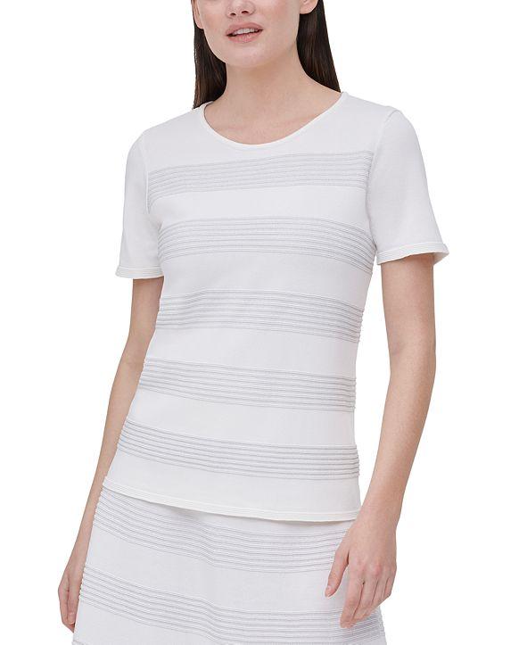 Calvin Klein Metallic-Stripe Sweater