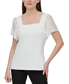 Flutter-Sleeve Square Neckline Top