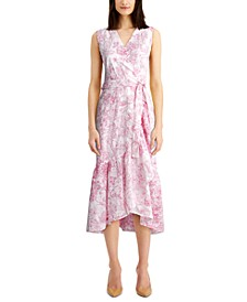 Printed Eyelet Ruffled Faux-Wrap Dress, Created for Macy's