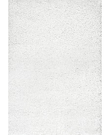 "Easy Shag Marleen Plush White 7'10"" x 10' Area Rug"