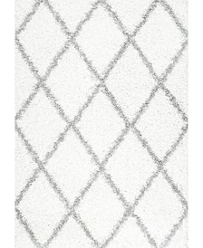 "Easy Shag Cozy Soft and Plush Diamond Trellis White 7'10"" x 10' Area Rug"